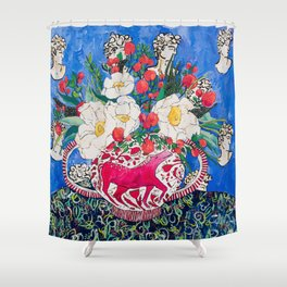 Horse Urn with Tiny Apples and Matilija Queen of California Poppies Floral Still Life Shower Curtain