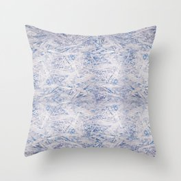 Blue chipboard texture abstract Throw Pillow