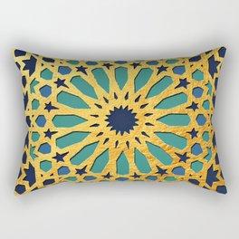 -A1_2- Golden Original Traditional Moroccan Artwork. Rectangular Pillow