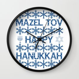 Happy Hanukkah Mazel Tov Wishes, Star of David, Menorah and Snowflakes Wall Clock