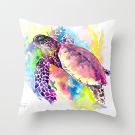 Sea Turtle in Coral Reef, tropical colors sea world purple yellow blue turtle art, turtle illustrati Throw Pillow