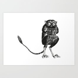 Say Cheese! | Tarsier with Vintage Camera | Black and White Art Print