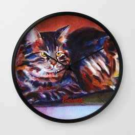 Terra Cotta Tabby Wall Clock