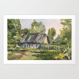Oil Painting On Canvas Village Landscape Artwork Modern Room Wall Art Home Living Cozy Home Decor Art Print