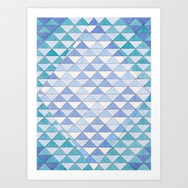 Triangle Pattern No. 9 Shifting Blue and Turquoise Art Print