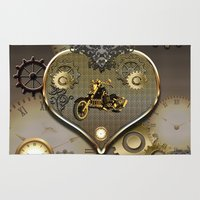 motorcycle Area & Throw Rugs featuring Steampunk, motorcycle  by nicky2342