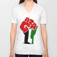 palestine V-neck T-shirts featuring GAZA by Osama hajjaj