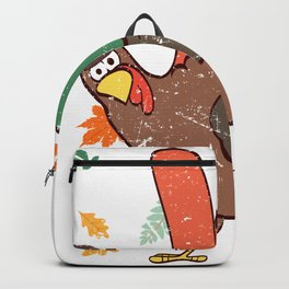 Rock N' Roll Hand Gesture Happy Turkey Day Thanksgiving Save A Turkey Awareness T-shirt Design Backpack