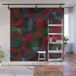 Abstract soap made of cosmic transparent green circles and claret bubbles on a dark background. Wall Mural