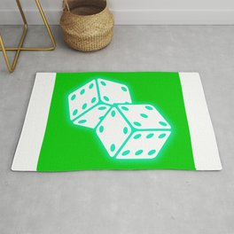Two game dices neon light design Rug