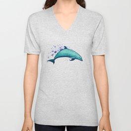 """Indigo Lagoon"" by Amber Marine ~ Watercolor Dolphin Painting, (Copyright 2015) Unisex V-Neck"