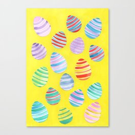 Easter Egg Watercolor Pattern -  Yellow Canvas Print