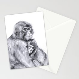 Snow monkey and baby Stationery Cards