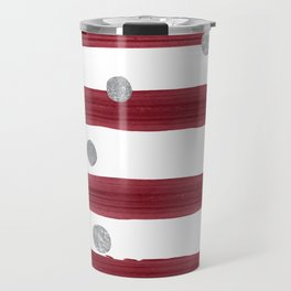 burgundy watercolor stripes with silver dots Travel Mug