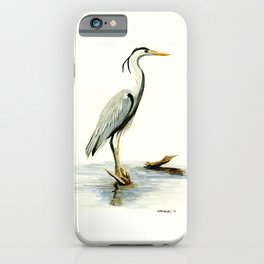 Blue Heron - watercolor bird, home decor, nursery wall art iPhone Case
