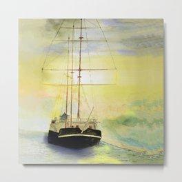a ship at sea Metal Print
