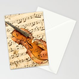 Violin on musical note background effect Stationery Cards