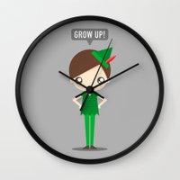 peter pan Wall Clocks featuring Peter Pan by oyoyoi