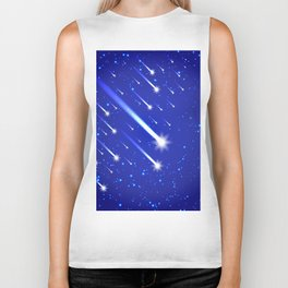 Space background with stars and comets Biker Tank