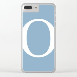 Letter O sign on placid blue background Clear iPhone Case