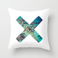 palm trees Throw Pillows featuring Palm Trees by Zavu