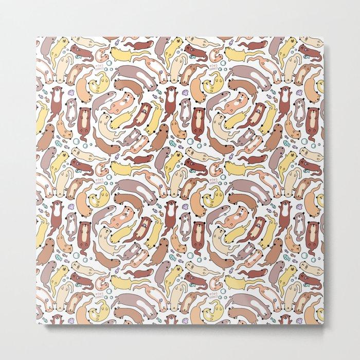 Adorable Otter Swirl Metal Print