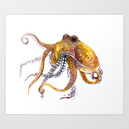 Octopus, orange red gold underwater scene octopus lover design, beach Art Print