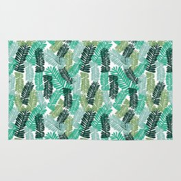 tropical plant house plant palm leaves plant watercolor painting abstract nature pattern leaf summer Rug
