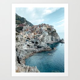 Manarola Pastel Houses Cinque Terre Italy Fine Art Travel Print | Amalfi Coast | Italy Art Print Art Print
