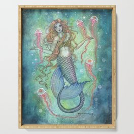 The Jellies Mermaid Jellyfish Watercolor Illustration Art Serving Tray