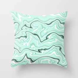Ice cold blue marble stone,  light turquoise color print  Throw Pillow