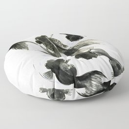 Black Moor, Feng Shui art, black fish zen painting Floor Pillow