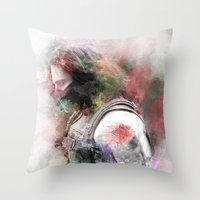 the winter soldier Throw Pillows featuring Winter Soldier by NKlein Design