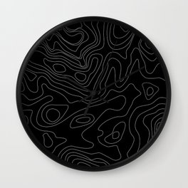 Black Abstract Topography Wall Clock