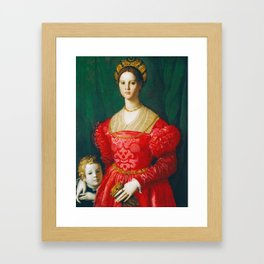 Agnolo Bronzino  -  A Young Woman And Her Little Boy Framed Art Print