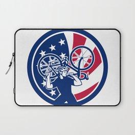 American Bike Mechanic USA Flag Mascot Laptop Sleeve