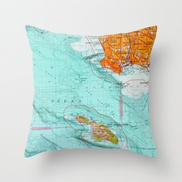 Long Beach colorful old map Throw Pillow