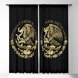 Mexican flag seal in sepia tones on black bg Blackout Curtain