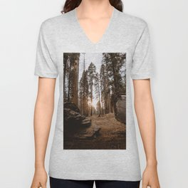 Light Between Fallen Sequoias Unisex V-Neck