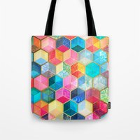 bohemian Tote Bags featuring Crystal Bohemian Honeycomb Cubes - colorful hexagon pattern  by micklyn