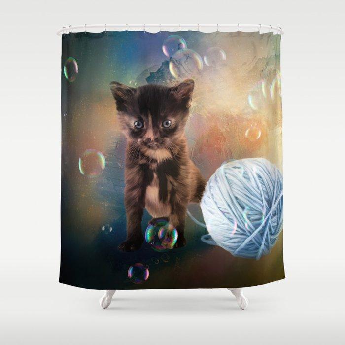 Playful Cute Black Kitten Shower Curtain