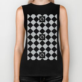 Metallic look grey and black abstract floral checkered pattern Biker Tank