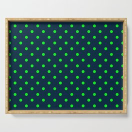 Navy and Neon Lime Green Polka Dots Serving Tray