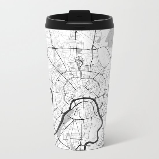 Moscow Map Gray Metal Travel Mug