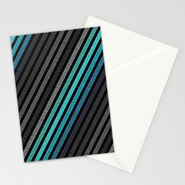 stripeS : Slate Gray Teal Blue Pixels Stationery Cards