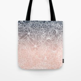 navy blue pastel peach ombre gradient white floral pattern Tote Bag
