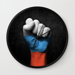 Russian Flag on a Raised Clenched Fist Wall Clock