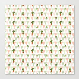 Hand painted pink coral green geometrical cactus Canvas Print