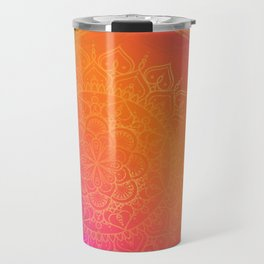 Fuchsia Pink Orange & Gold Indian Mandala Glam Travel Mug