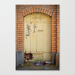 Old Wall and Door and old red Shoes Canvas Print